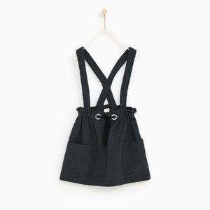 Zara girls gray skirt with suspenders